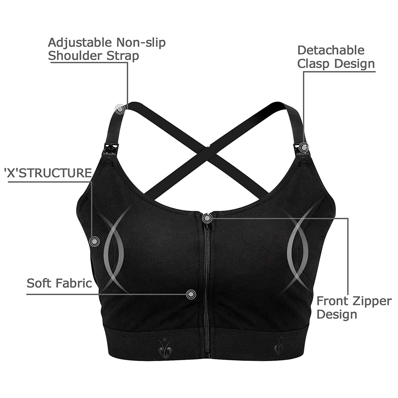 Hands Free Pumping Bra, Adjustable Breast-Pumps Holding and Zipper Nursing Bra, Suitable for Breastfeeding-Pumps