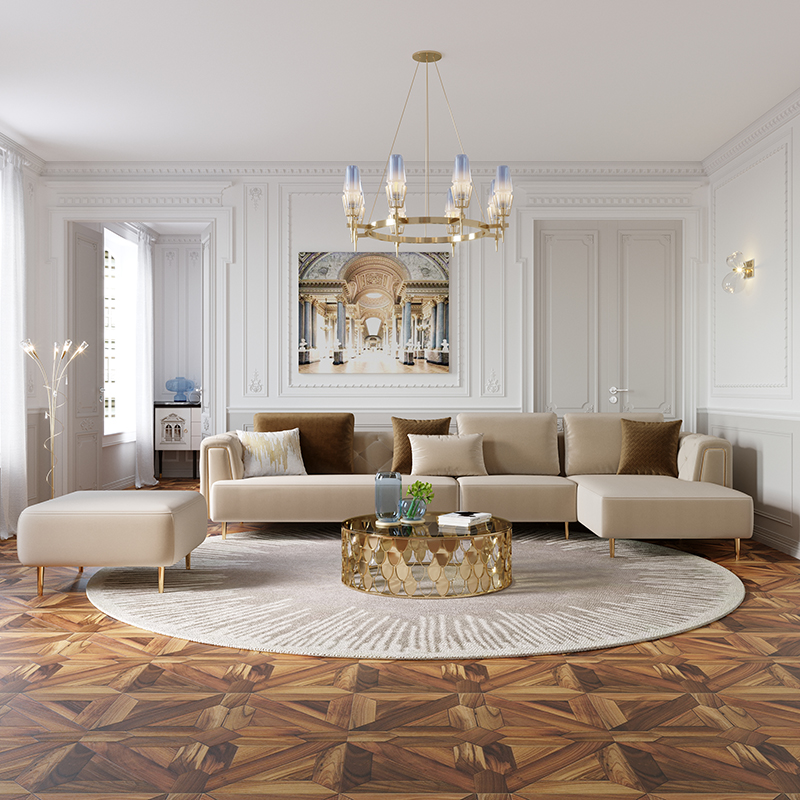 Linsy Modern Velvet Fabric Tufted Section Sofa Set Furniture Sectionals Chesterfield Corner L Shaped Living Room Sofas RBC1K