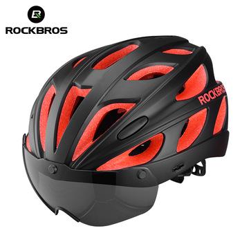Велосипедные запчасти ROCKBROS оптом, шлем для горного велосипеда с поляризованными очками