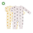 Baby Clothes GOTS Certified Organic Cotton Baby Clothes Romper Zipper Baby Giraffe Long Sleee Jumpsuit
