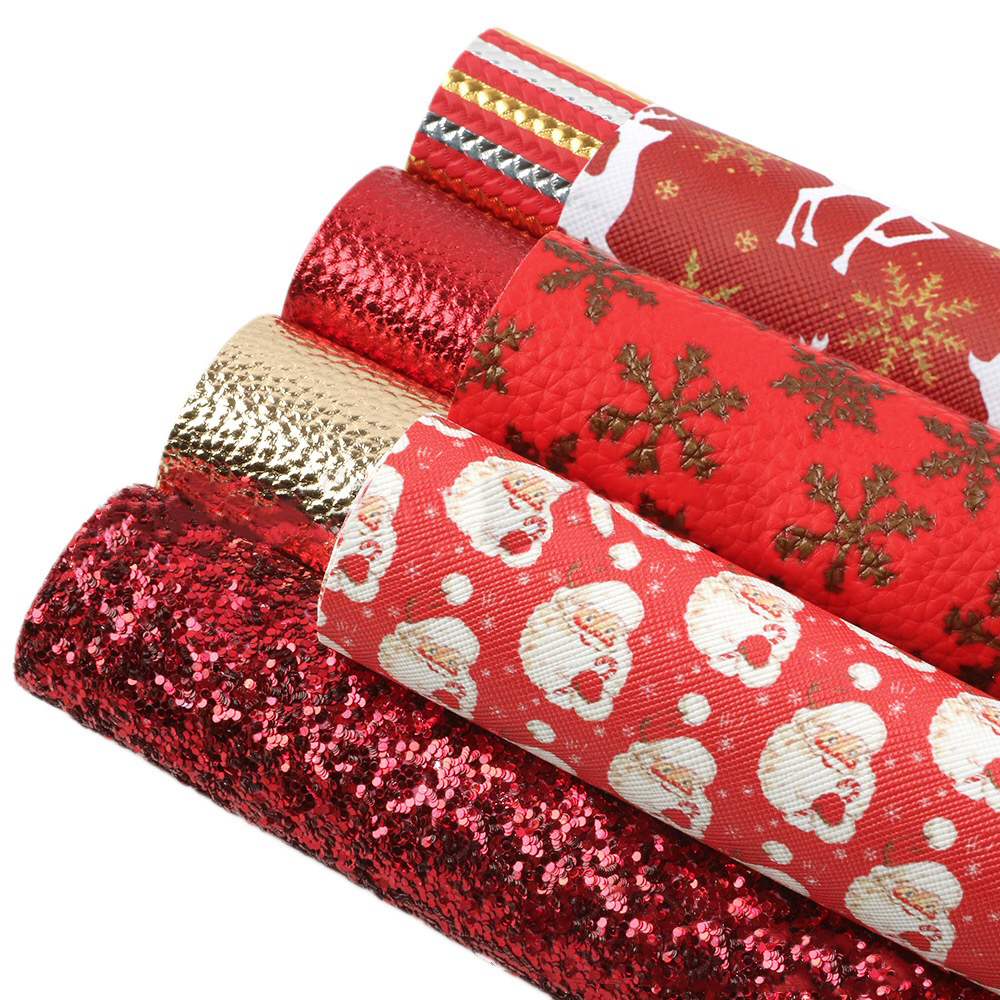 A4 Christmas print faux leather for craft bows glitter leatherette fabric