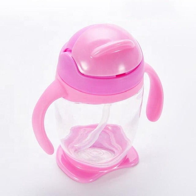 2020 New Style Silicone Nipple Straw 300ml Kids Learn Drinking Water Cup Baby Training Sippy Bottle With Handles