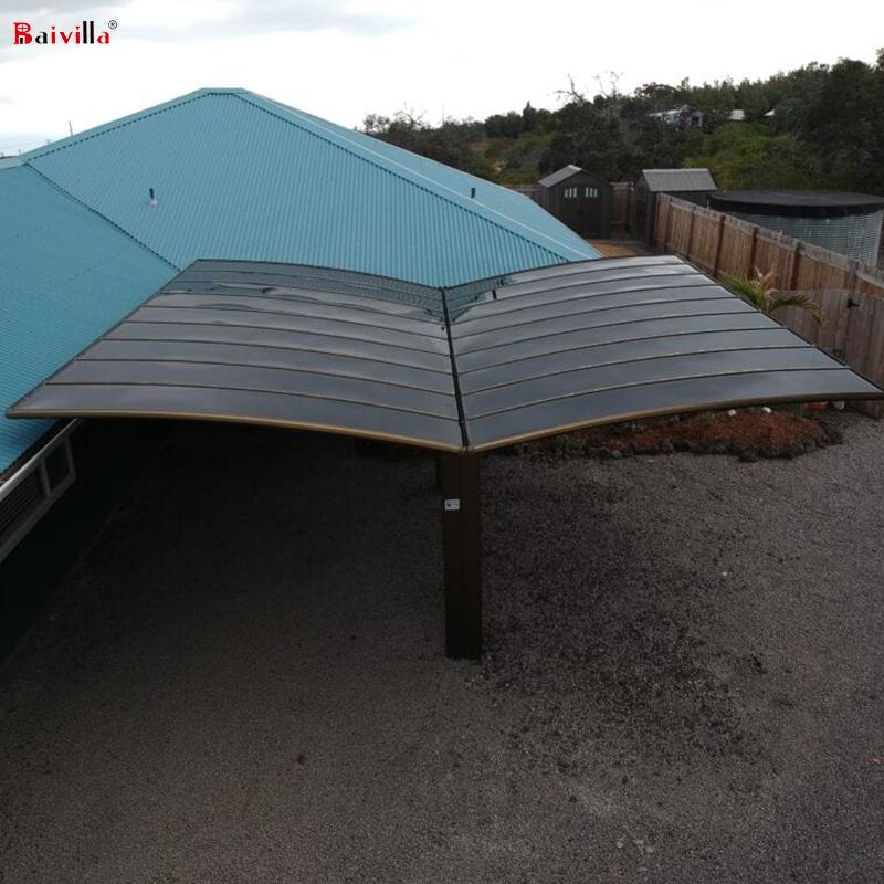 Водонепроницаемый алюминиевый двойной навес с поликарбонатной крышей