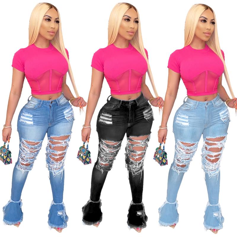 Pantalones Vaqueros Rasgados Para Mujer Pantalon De Mezclilla Sexy Liso De Cintura Alta Para Verano 2020 Buy Pantalones De Mezclilla De Verano 2020 Para Mujer Pantalones Vaqueros De Tiro Alto Ajustados De Cintura Alta Para Mujer Product On