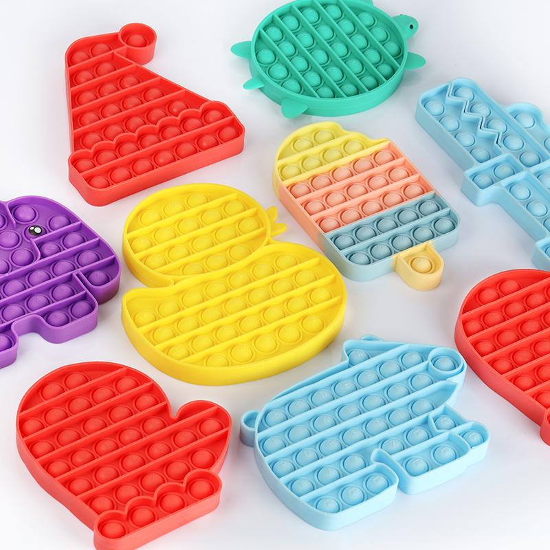 Rainbow Ice Cream Push pop Bubble Sensory Fidget Stress Reliever Squeeze Sensory Toy for Kids Teens Adults