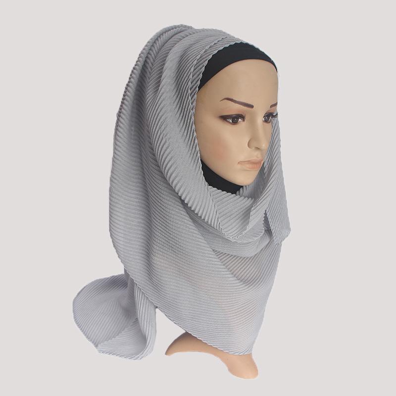 Новый модный хиджаб 2020 саржевый плиссированный шарф из хлопка и льна