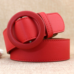 Custom Cheap Casual Jeans Wholesale Women's PU Leather Belt with Adjustable Coated Buckle