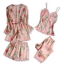 Лето 2020 женские пижамные комплекты 4 шт сексуальные кружевные пижамы женские атласные шелковые пижамы элегантные пижамы с нагрудными накла...(Китай)