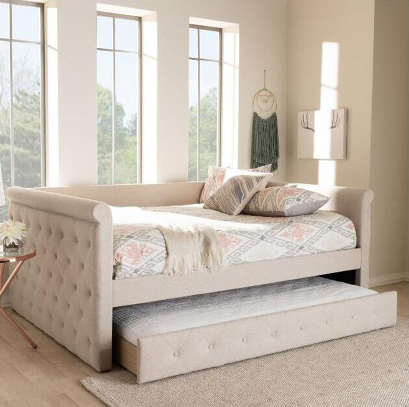 Contemporary Light Beige Fabric Upholstered Full Size Daybed With Trundle Buy Light Beige Fabric Day Bed Outdoor Daybed Folding Daybed Product On Alibaba Com