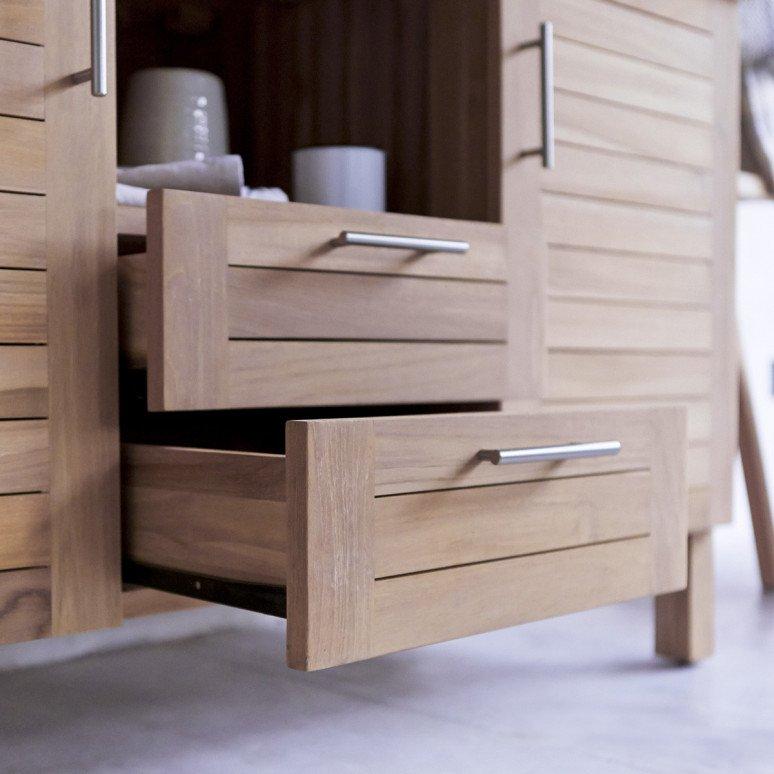 Teak wood surface bathroom furniture double vanity