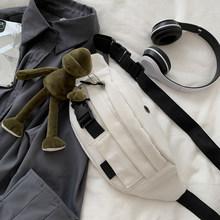 Женская дизайнерская холщовая поясная сумка, черная, белая поясная сумка для женщин, винтажная сумка на плечо, Большая вместительная нагруд...(Китай)
