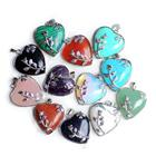 China factory fashion jewelry silver plated rose flower heart shaped natural stone pendants wholesale