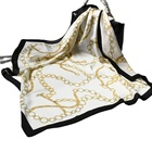 Scarf White The Scarf 70x70cm Plain Scarf White Silk Square Imitated Pure Silk Scarf Line Print Imitation Silk Scarf For Lady Elegance