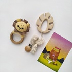 Crochet Crochet Cute Lion Wooden Rattle/Tassel Braid Baby Pacifier Clip/Baby Wooden Teether
