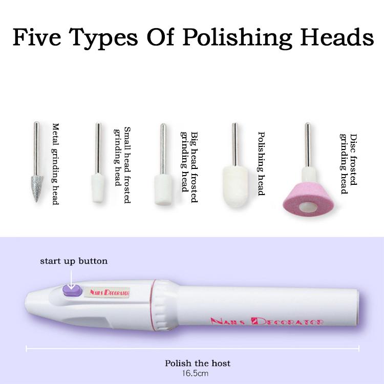 Электрическая пилка для маникюра и педикюра, набор из нескольких насадок для полировки ногтей, инструменты для полировки ногтей