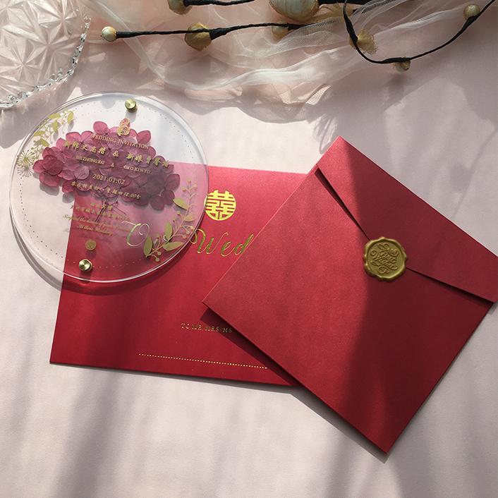Custom Shape own Design Clear Plastic Unique Acrylic Card Wedding Invitation