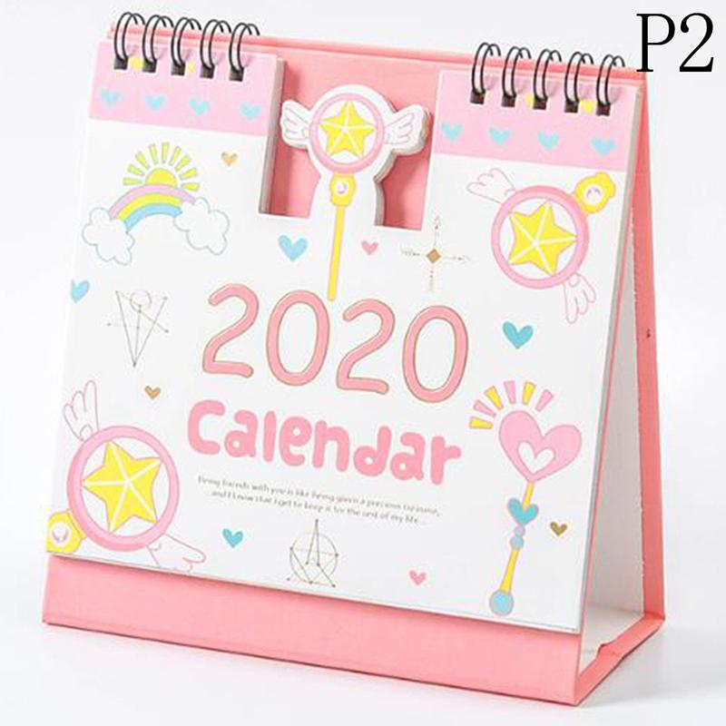 2020 мини портативные настольные календари ежедневный график планировщик милый мультфильм Хомяк вишни катушки календарь 2020,09-2020,12(Китай)