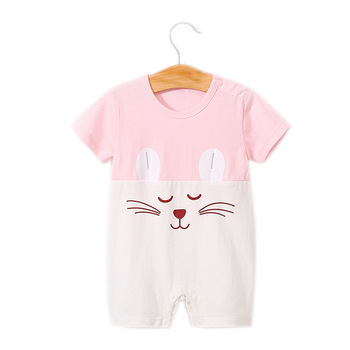 Baby Clothes New Lovely Cotton Short Sleeve Cat Print Infant Jumpsuits Clothing