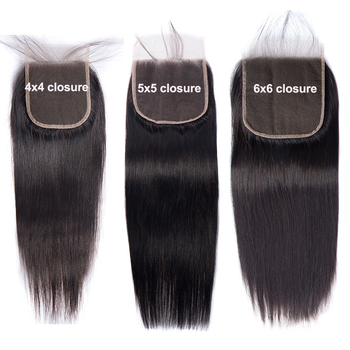 Natural looking hairline4X4 5X5 6X6 7X7 Lace Closure Brazilian Straight Human Hair Closure With Baby Hair Free Part Swiss Lace