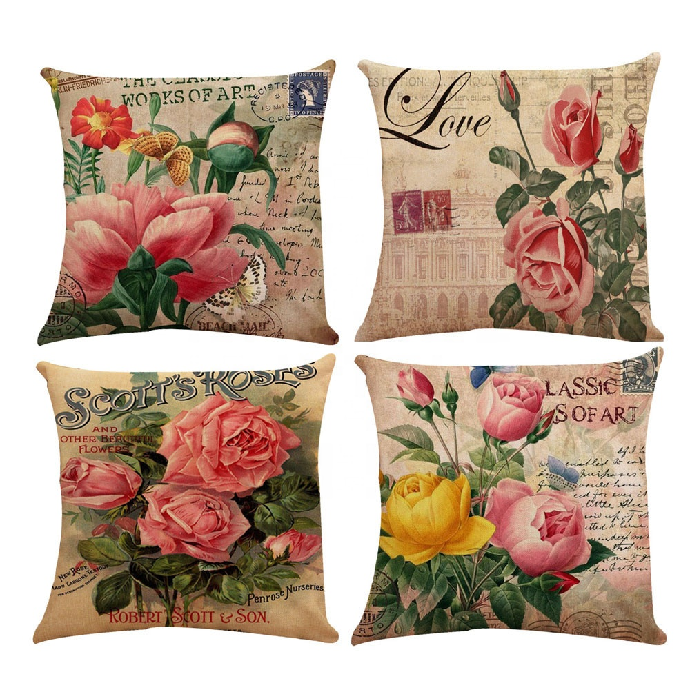 Sofa Car Couch Pillow Cover Bed Decor Rose Blooming Flower Throw Cushion Case