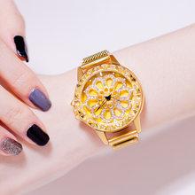 VOHE Модные женские наручные часы с золотыми цветами и стразами, роскошные повседневные женские кварцевые часы(Китай)