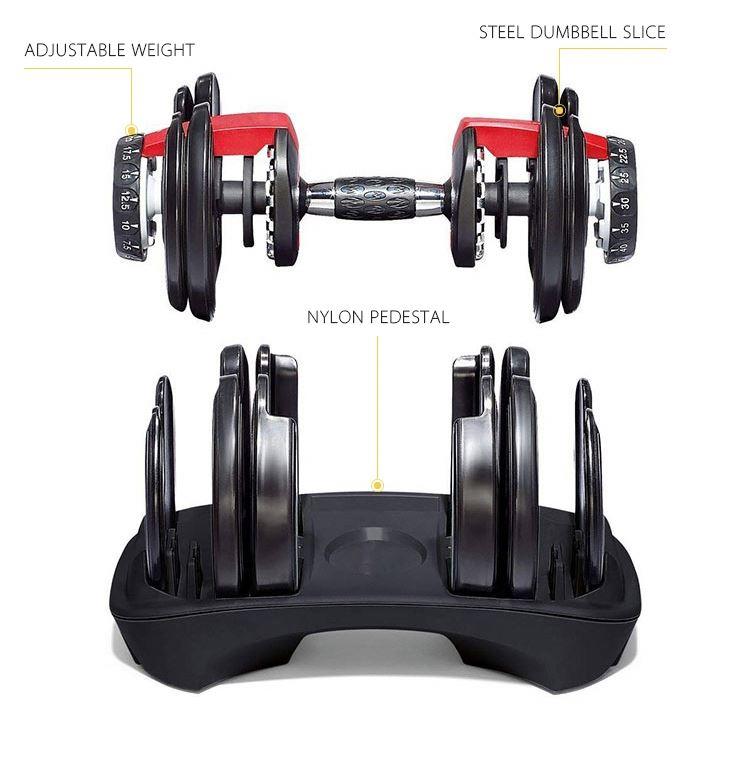10 And 20 Adjustable Dumbbell Set 100 Lb Dumbbells 10Kg Steel Black Cast Iron Chrome 15 30 Sets 15Kg Rubber Weight Fitness