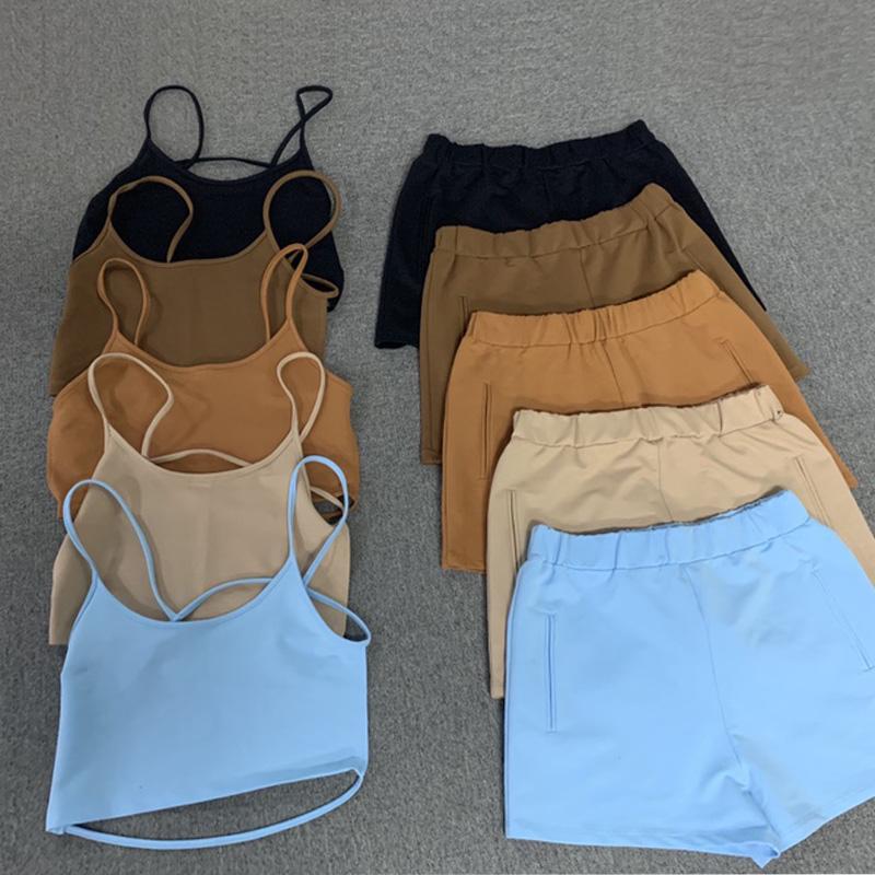 wholesale custom crop tank top camisole femme coton 2 piece short set women two piece backless camisole top sport bra short set