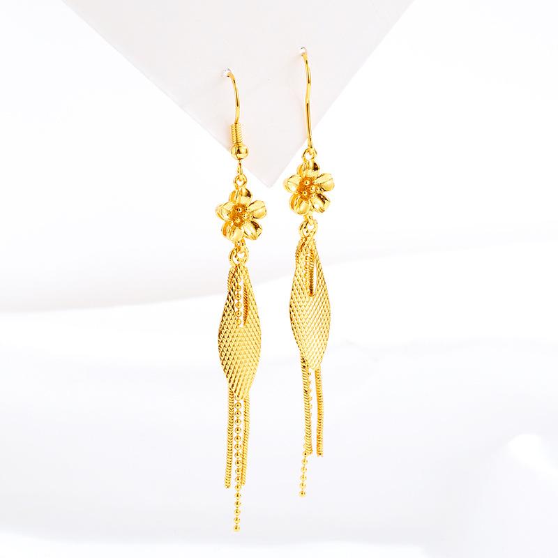 Fashion Gold Earring Elegant Long Tassel www.1mrk.com