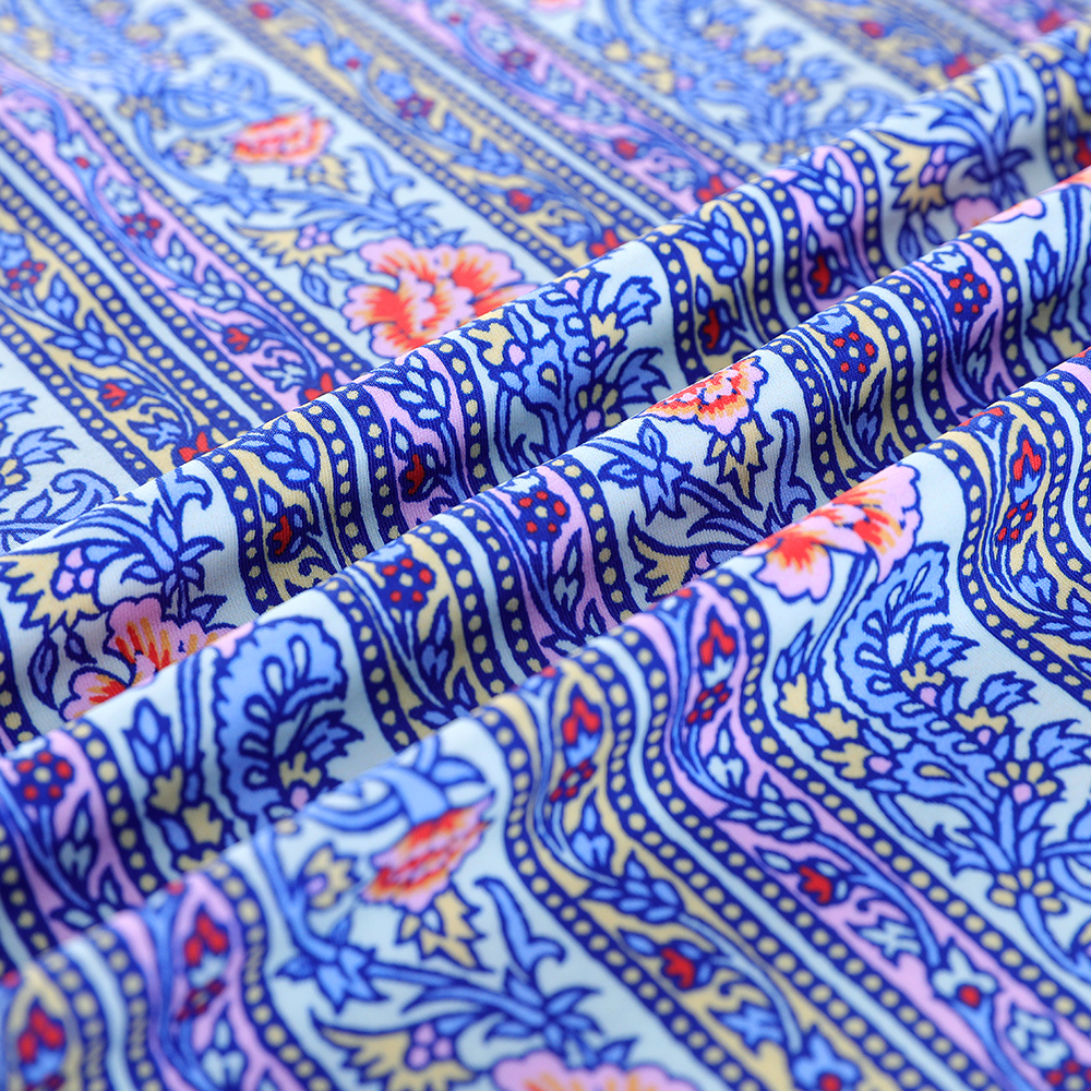 Customized knitted digital printing 100%organic cotton interlock 220GSM fabrics cloth