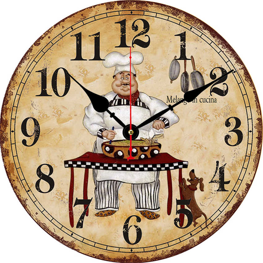 Cook Antique Wall Watch Kitchen Clock Shabby Retro Home Kitchen Room Decor New Arrival Buy 3d Wall Clock Designer Black Wall Clock Sublimation Clock Blanks Product On Alibaba Com