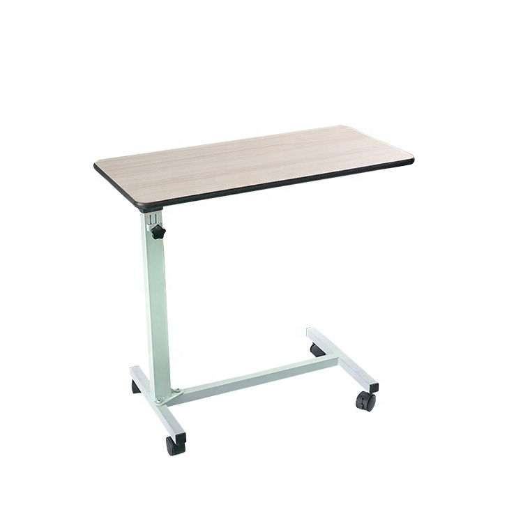 Stainless steel wood panel adjustable over bed table
