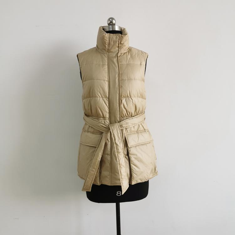 Fashion Simple Ladies Down filled Winter Vest Women Sleeveless Jacket
