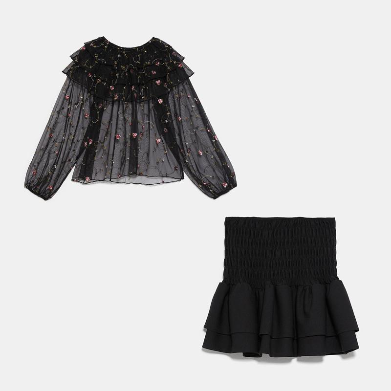 2020 ZA женский модный комплект из двух предметов с вышивкой, сексуальная прозрачная рубашка с рюшами, мини юбка, эластичные вечерние зимние но...(Китай)