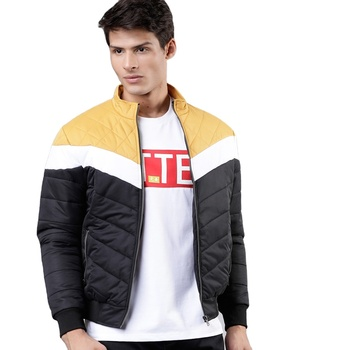 latest high quality hot selling puffer jacket best Men Black Colour blocked Jacket High quality yallow stitching duck down jack