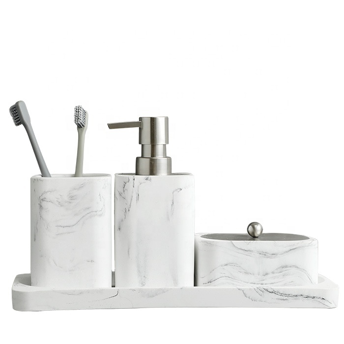 European style pure white resin bathroom accessories bath set