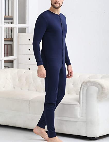 N027 Men's Cotton Thermal Underwear Union Suits Henley One piece Base Layer