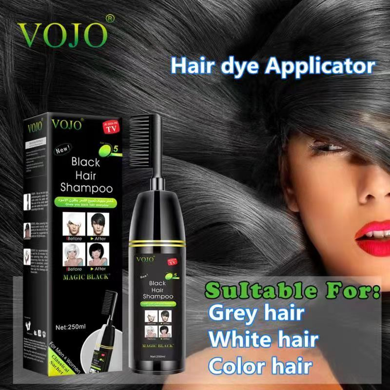 Best quality quick dye black hair shampoo private label oem/odm VOJO group