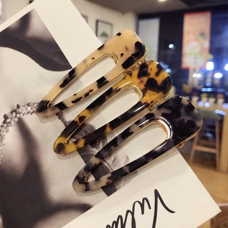 JUHU New fashion Leopard grain print acrylic acetate hair claw clip geometric clip for women cute girls hair accessories