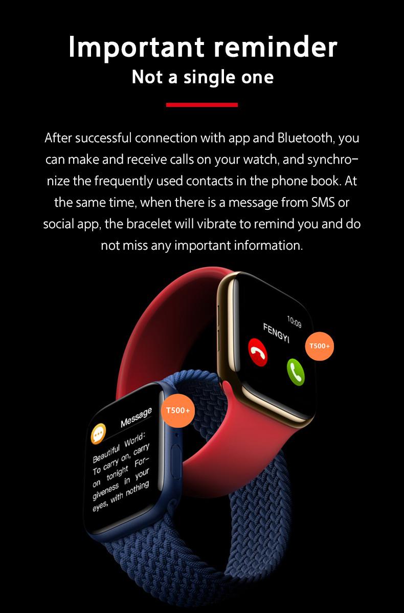 T500+ SmartWatch Sirers 6 Sport Bracelet Blood Pressure Sleep Monitor Fitness Tracker1.75 inch T500 Plus Smart watch