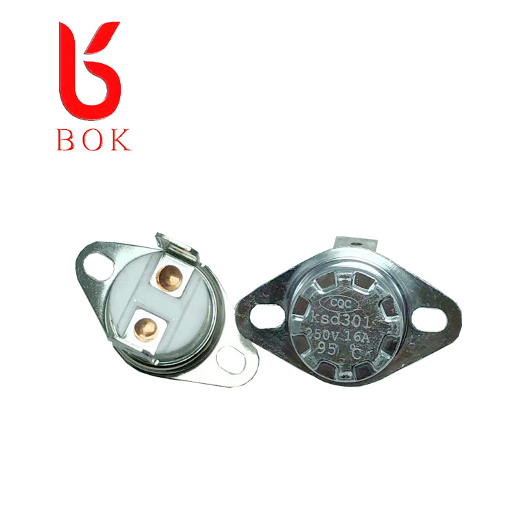 Ceramic bimetal normally closed 250c overheat protector thermal temperature switch 250v 16a thermostat KSD301