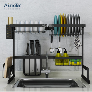 65cm Black Shelf Holder Dish Drying Drainer Standing Type Dryer Stand Kitchen Rack Stainless Steel