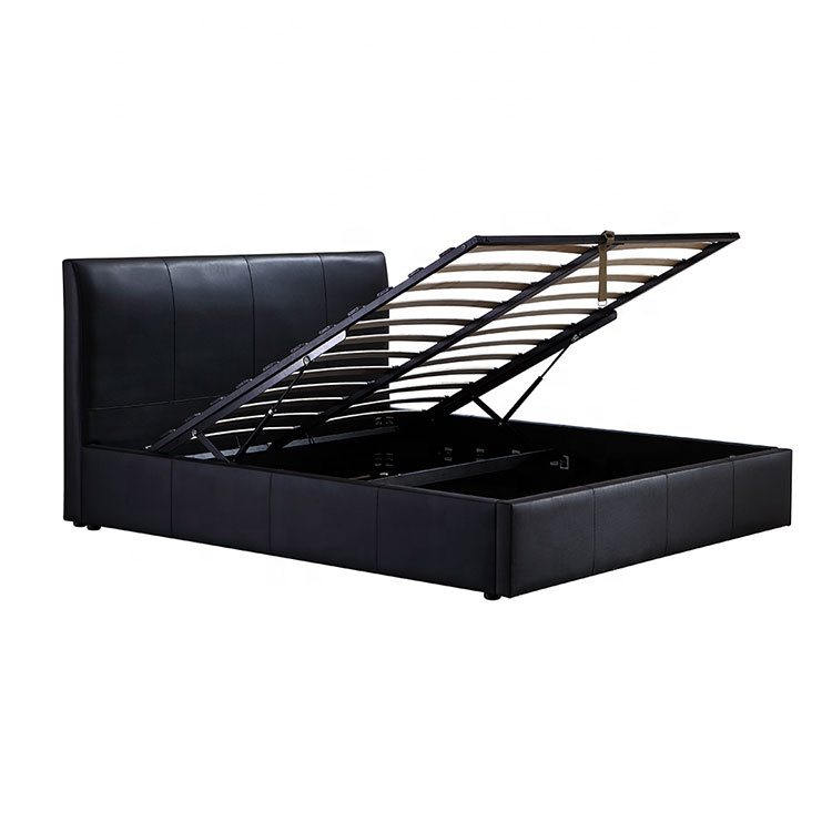 Foshan cheap bedroom furniture latest unique queen size black leather soft bed