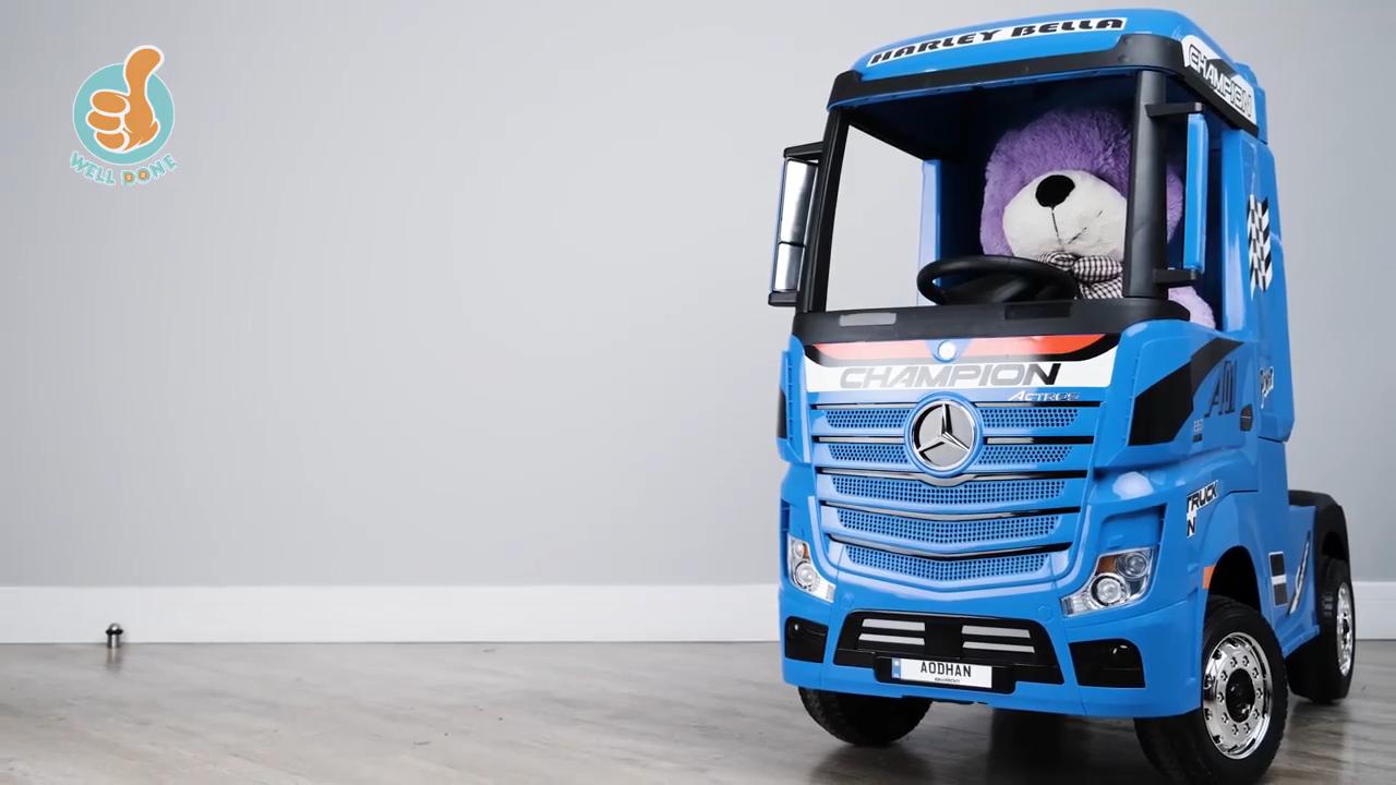 Mobil Listrik Anak-anak, Truk Mainan Anak-anak, Mobil Mainan Kendaraan Truk Berlisensi Mercedes Benz Elektrik 12V dengan Remote Control