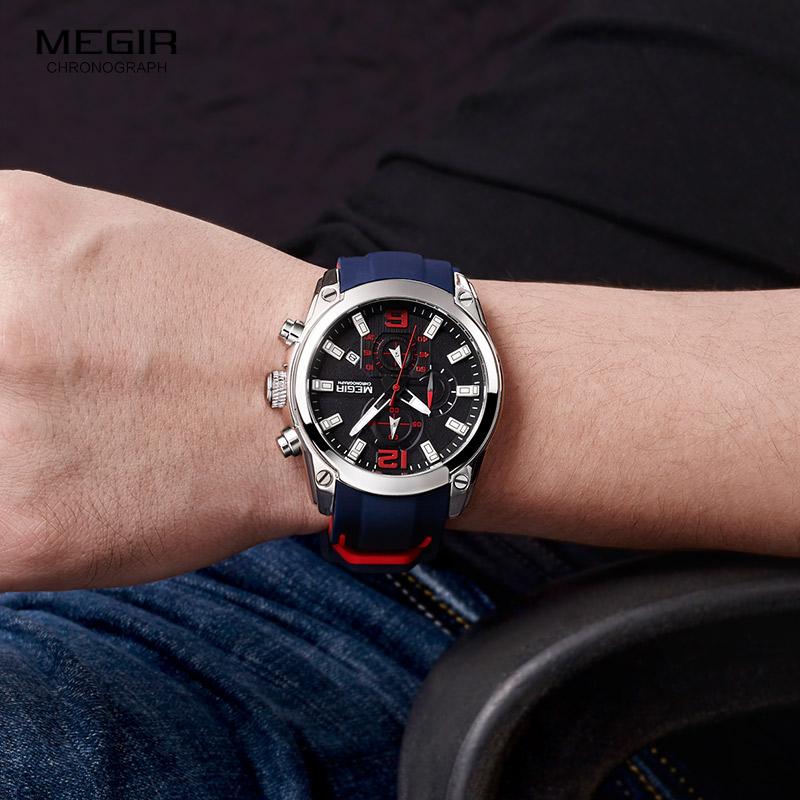 MEGIR 2063 Brand Men Analog Quartz Watch Chronograph Wristwatch Sports Military Watches Timing Waterproof Leather Reloj Hombre