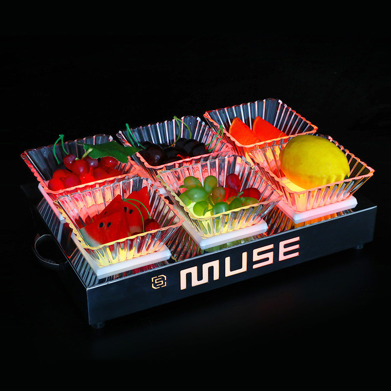 Acrylic Luminous Fruit Plate Chargable Snack Service Tray for Party Bar Night Club