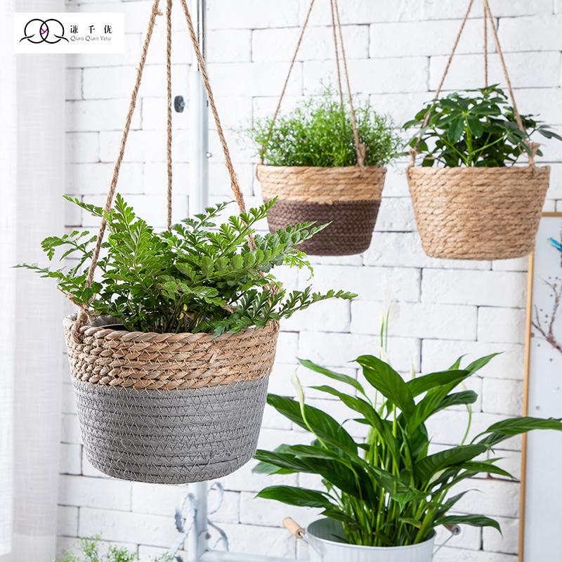 Eco-friendly ortability seagrass basket hand wove straw flower box fruit box storage basket