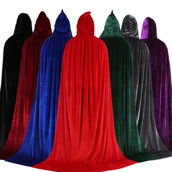 Wholesale Costume Supplies Clothing Cosplay Party With Hat Halloween Hooded Cloak Vampire Cape Cloak Witch Wizard Cloak