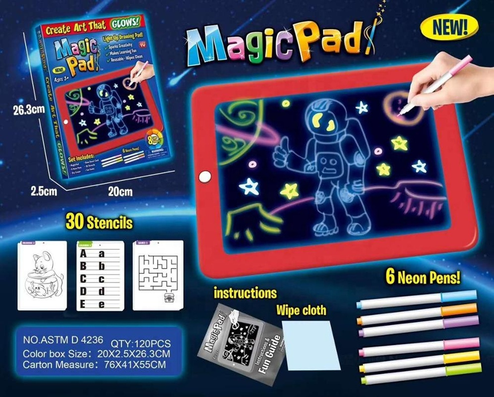 Children Clipboard Fluorescence LED Drawing Writing Board Magic Pad With Light