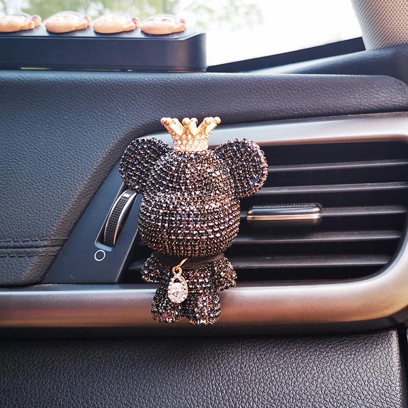 Car Aromatherapy Essential Oil Diffuser Diamond Locket Little bear Vent Clip Car Decoration Car Air Freshener Perfume