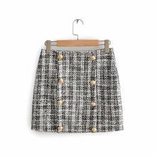 Офисный женский элегантный комплект из двух предметов, клетчатый твидовый пиджак, женский костюм, повседневный Женский комплект, Роскошный...(Китай)